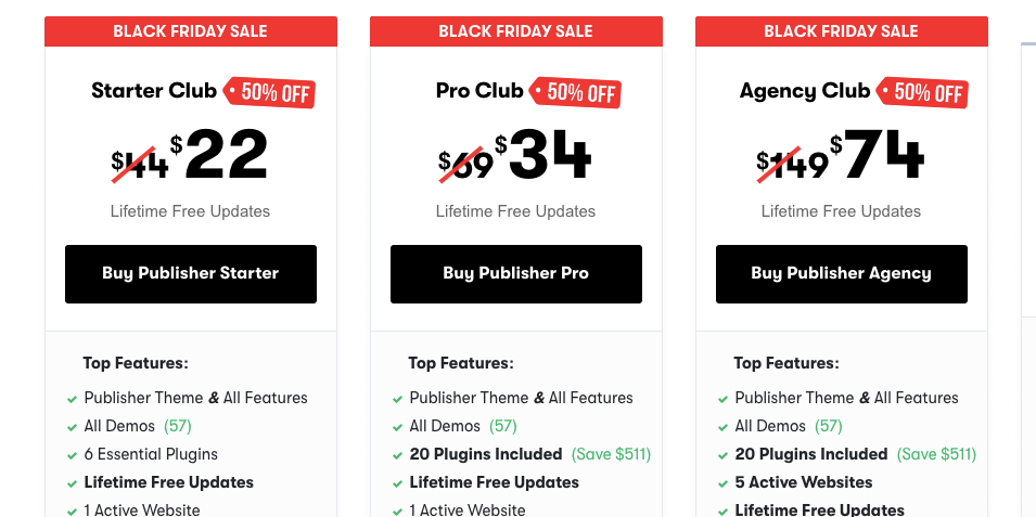 Publisher Theme black Friday 2019 Deals pricing